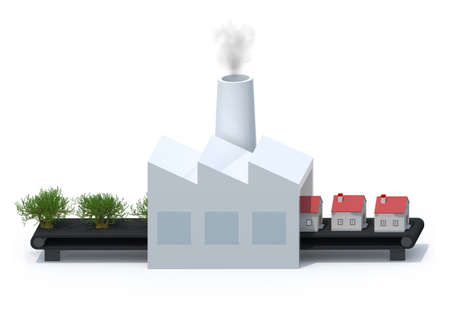 DOWN TOWN: factory that transforms trees into houses, isolated 3d illustration
