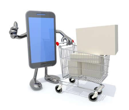 smartphone with arms, legs and shopping cart full of product, 3d illustration illustration