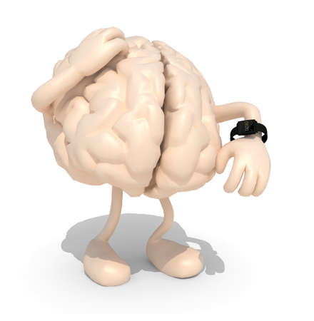 human brain with arms, legs and watch, 3d illustration Stok Fotoğraf