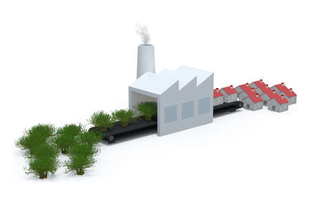 deforestation: factory that transforms trees into houses, isolated 3d illustration