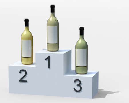 wining: three bottles of white wine on the podium, 3d illustration