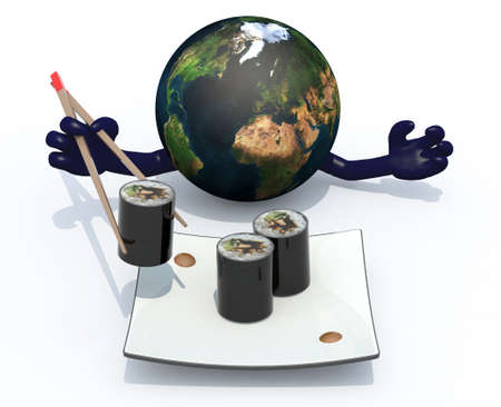 cohesion: planet earth eating sushi with chopsticks, 3d illustration isolated on white background Stock Photo