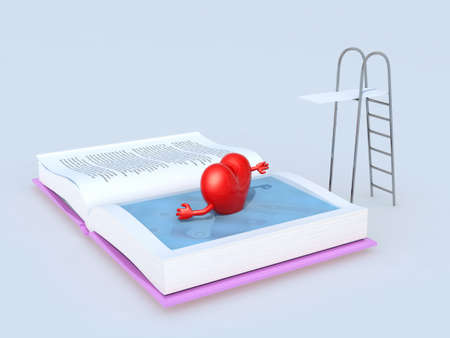 swims: heart that swims on the book, isolated 3d illustration