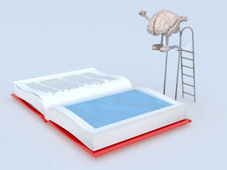 plunge: human brain with arms and legs on trampoline dip in the book, 3d illustration Stock Photo