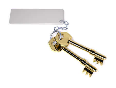 blank tag: two golden key with blank tag isolated on white, 3d illustration Stock Photo