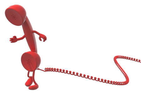 telephone cartoon: red retro telephone handset cartoon and cable, isolated, white background.