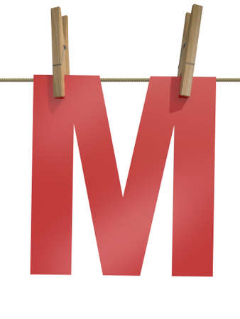 clothespin and rope: Rope with clothespin and letter m, 3d illustration isolated on white background Stock Photo