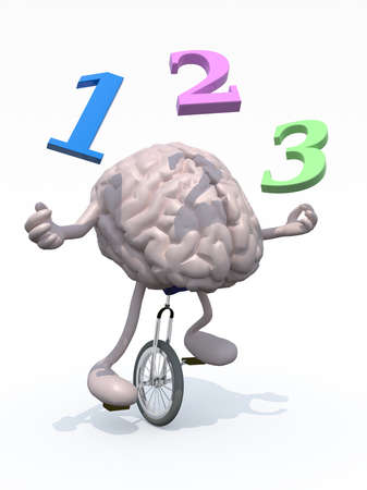 unicycle: human brain with his arms and legs riding a unicycle and spear numbers, 3d illustration