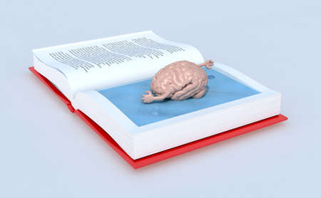 swims: human brain that swims on the book, isolated 3d illustration
