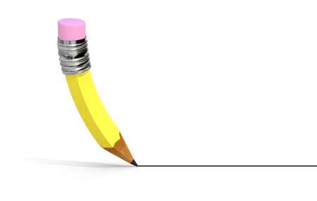 chancellery: Yellow pencil that writes a line, isolated on white background, 3d illustration