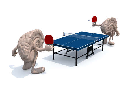 half: two half brains with arms and legs that playing to table tennis, 3d illustration Stock Photo