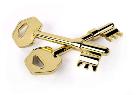 two golden key crossed isolated on white, 3d illustration