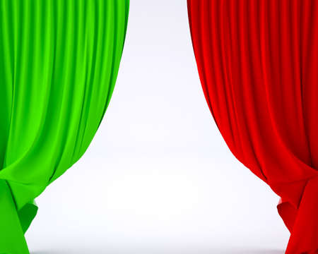 europe closeup: flag of Italy on a theater silk curtain, 3d illustration Stock Photo