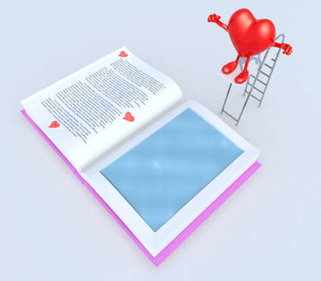 dip: heart with arms and legs on trampoline dip in the book, 3d illustration