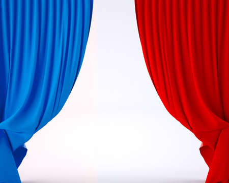 theatre: flag of France on a theater silk curtain, 3d illustration
