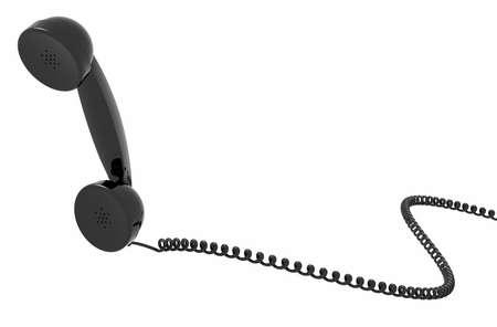 cable telefono: microteléfono retro teléfono y cable, aislado, fondo blanco. Foto de archivo
