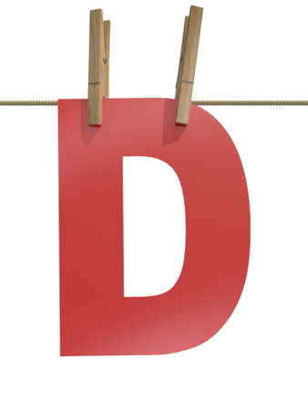 clothespin and rope: Rope with clothespin and letter d, 3d illustration isolated on white background
