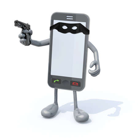 smartphone with arms legs gun on hand and bandit mask on sreen, 3d illustration