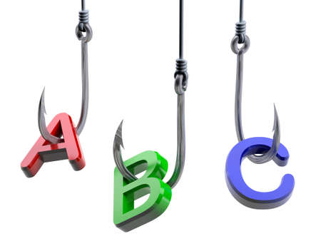 fishing rig: letters A,B,C caughts on a fish hooks, isolated 3d illustration