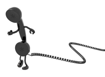cable telefono: microteléfono retro teléfono y cable de dibujos animados que se ejecutan, aislado, fondo blanco. Foto de archivo