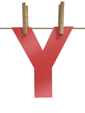 clothespin and rope: Rope with clothespin and letter y, 3d illustration isolated on white background Stock Photo
