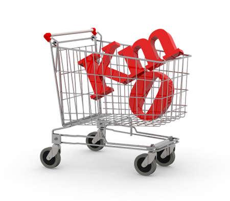 Shopping cart full of zero kilometers symbol, 3d illustration isolated on white background. Stock Photo