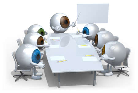 eyeballs: many colored eyeballs meeting around the table and follow their boss