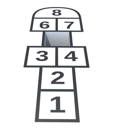 hopscotch: Hopscotch with hole on number 5, isolated on white background, 3d illustration Stock Photo