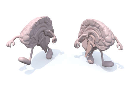 discord: two half brains that walk, 3d illustration