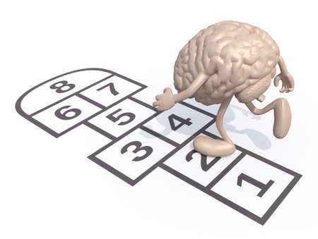 pitfall: Human brain with arms and legs play hopscotch. Isolated on white background, 3d illustration