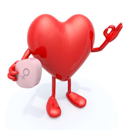 salud sexual: corazón con los brazos y las piernas y la píldora grande de color rosa en la mano, ilustración 3d Foto de archivo
