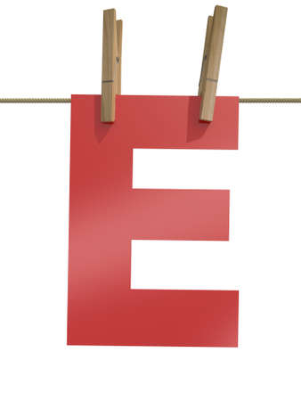 Rope with clothespin and letter e, 3d illustration isolated on white background