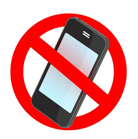cell phones not allowed: no smartphone traffic sign, 3d illustration