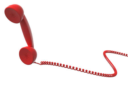 antiquated: red retro telephone handset and cable, isolated, white background.