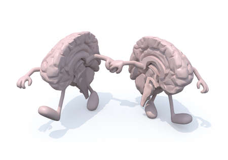 discord: two half brains that walk hand in hand, 3d illustration