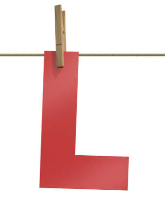 Rope with clothespin and letter l, 3d illustration isolated on white background