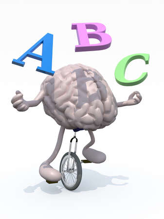 unicycle: human brain with his arms and legs riding a unicycle and spear alphabet letters, 3d illustration Stock Photo