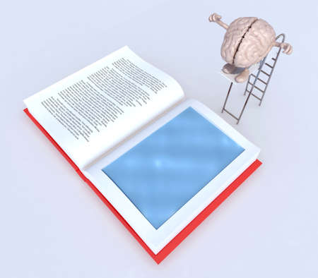 dip: human brain with arms and legs on trampoline dip in the book, 3d illustration Stock Photo