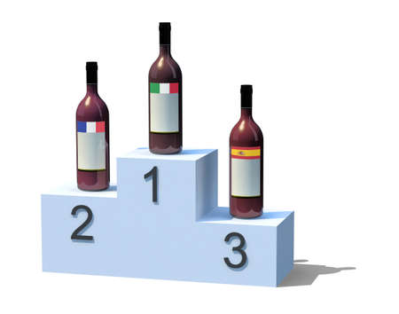 wining: bottles of wine with flags on the podium, 3d illustration isolated on white background Stock Photo
