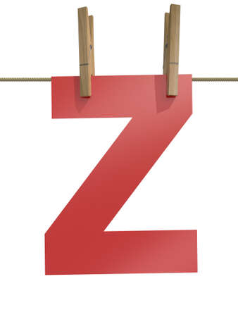 single word: Rope with clothespin and letter z, 3d illustration isolated on white background