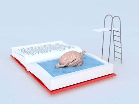 adventure story: human brain that swims on the book, isolated 3d illustration