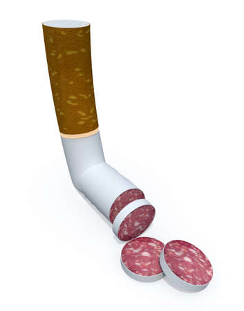 food concept: cigarette sliced like salami, healt food concept, 3d illustrator