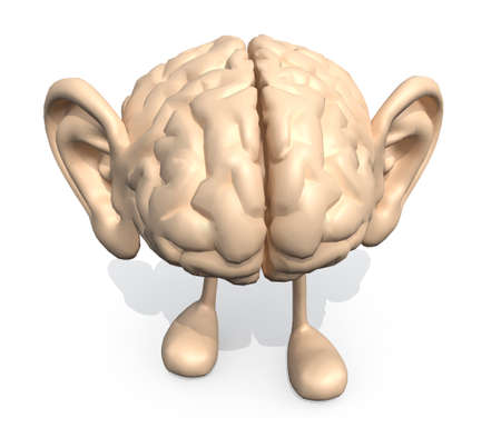 brain: human brain with big ears and legs, 3d illustration