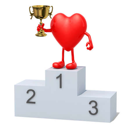 sports winner: Heart with arms, legs and winner cup on sports victory podium