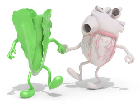 food concept: lettuce and heart with arms and legs that walking hand in hand, 3d illustration Stock Photo
