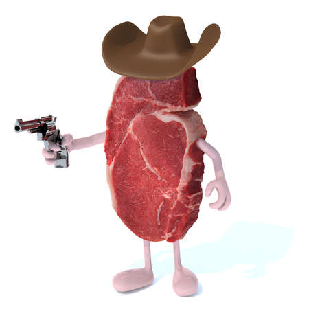 nutritive: steak with arms, legs, hat and gun on hand, isoloated 3d illustration Stock Photo