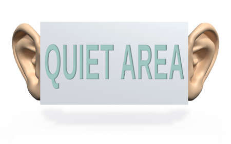 quite: big ears beside a panel with written quite area, 3d illustration Stock Photo