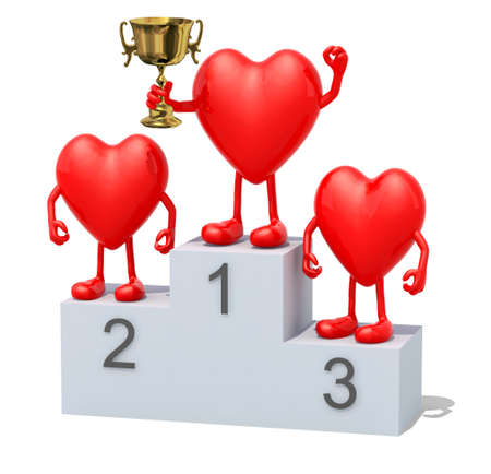 sports winner: Hearts with arms, legs and winner cup on sports victory podium Stock Photo