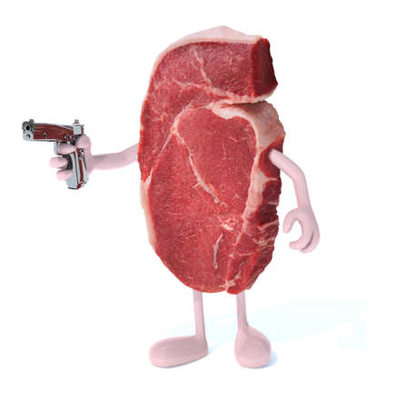 poison: steak with arms, legs and gun on hand, isoloated 3d illustration