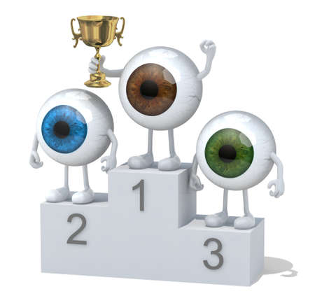 sports winner: eyeballs with arms, legs and winner cup on sports victory podium